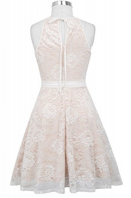 Women's Halter Floral Lace Cocktail Party Dress Homecoming Dress_10
