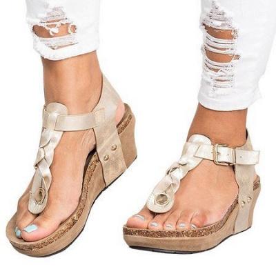 Summer Daily PU Braided Strap Sandal_19