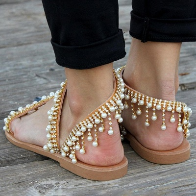Women Leather Sandals Casual Pearls Shoes_3