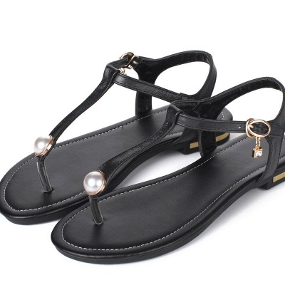 Flip-flops Imitation Pearl Daily Summer Buckle Sandals_8