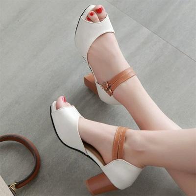 Date Buckle Peep Toe Sandals_8
