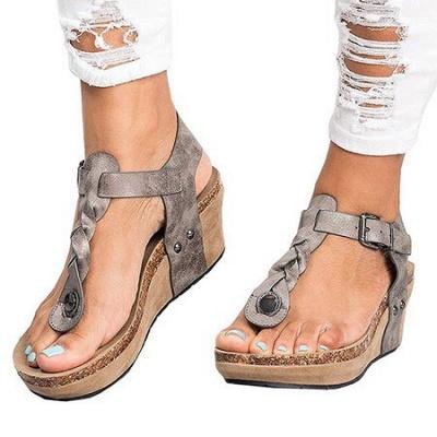 Summer Daily PU Braided Strap Sandal_7