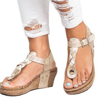 Summer Daily PU Braided Strap Sandal_9
