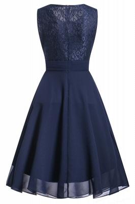 Women's Vintage Sleeveless Ruffles Belt Floral Lace Bridesmaid Chiffon Dress_7