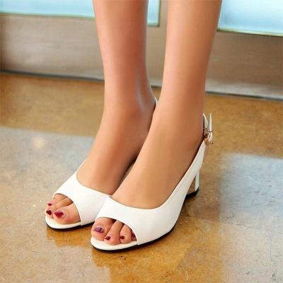 Summer Buckle PU Dress Peep Toe Chunky Sandals_7