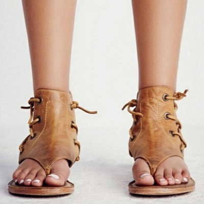 Lace-up Hollow-out Beach Flip-flops Sandals_6