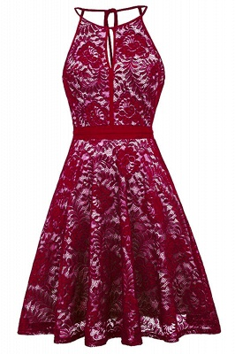 Women's Halter Floral Lace Cocktail Party Dress Homecoming Dress_9