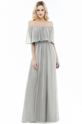 Cheap A-line Off-the-Shoulder Chiffon Bridesmaid Dress in Stock_3