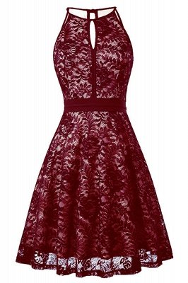 Women's Halter Floral Lace Cocktail Party Dress Homecoming Dress_8