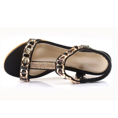 Rhinestone Date Chain Hollow-out Women Summer Wedge Sandals_2
