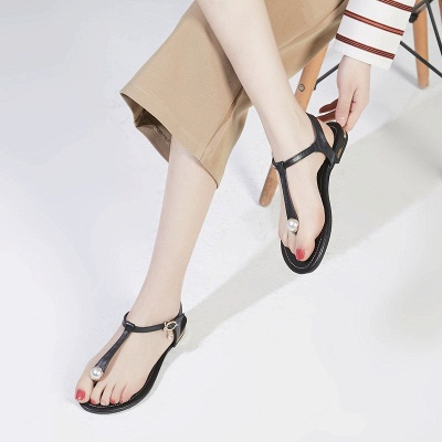 Flip-flops Imitation Pearl Daily Summer Buckle Sandals_3
