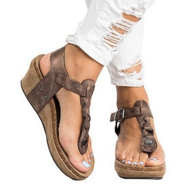 Summer Daily PU Braided Strap Sandal_17