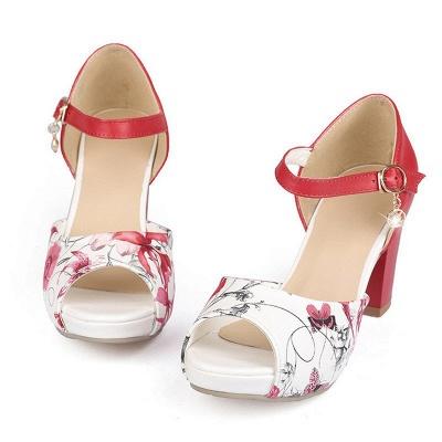 Floral Print Platform Buckle Chunky Sandals_2