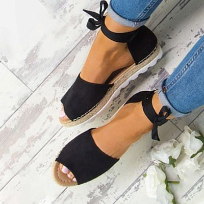 Lace-up Casual Flocking Platform Sandals_18