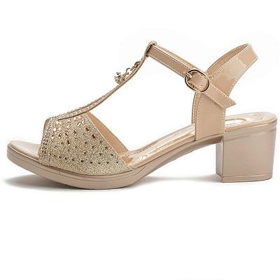 Glitter Rhinestone Buckle Peep Toe Summer Chunky Sandals_5