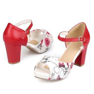 Floral Print Platform Buckle Chunky Sandals_5