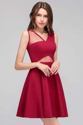 Cheap A-line Sleeveless Short V-neck Tulle Neckline Homecoming Dress in Stock_1