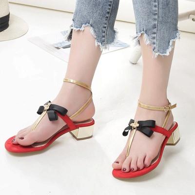 Buckle Bowknot Flip-flops Sandals_1