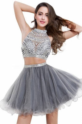 Two-piece Halter Sleeveless Short Tulle Cheap Prom Dresses with Crystal Beads_4