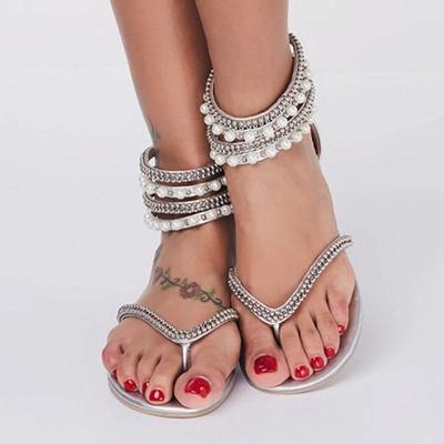 Beach Rhinestone Imitation Pearl Flip-flops_4