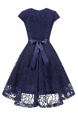 Women's Vintage 1950s Short Sleeve A-Line Cocktail Party Swing Dress with Floral Lace_2