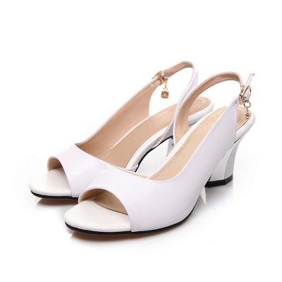 Summer Buckle PU Dress Peep Toe Chunky Sandals_1