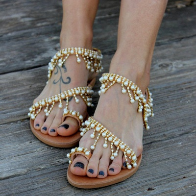 Women Leather Sandals Casual Pearls Shoes_1