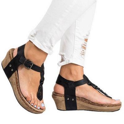 Summer Daily PU Braided Strap Sandal_20