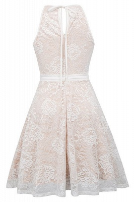 Women's Halter Floral Lace Cocktail Party Dress Homecoming Dress_11