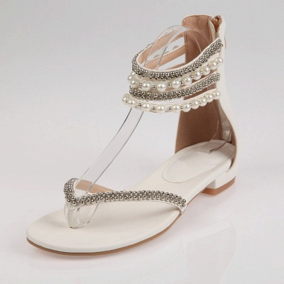 Beach Rhinestone Imitation Pearl Flip-flops_1