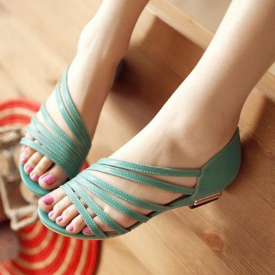 Hollow-out Daily Summer Peep Toe Wedge Sandals_4