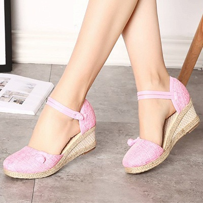 Espadrilles Button Daily Cloth Wedge Sandals_2