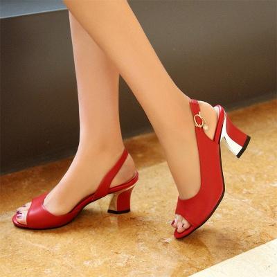 Summer Buckle PU Dress Peep Toe Chunky Sandals_2