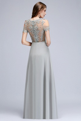 A-Line Appliques Scoop Beaded Silver Cheap Cold-Shoulder Bridesmaid Dresses_8