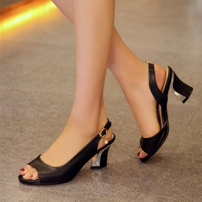 Summer Buckle PU Dress Peep Toe Chunky Sandals_11