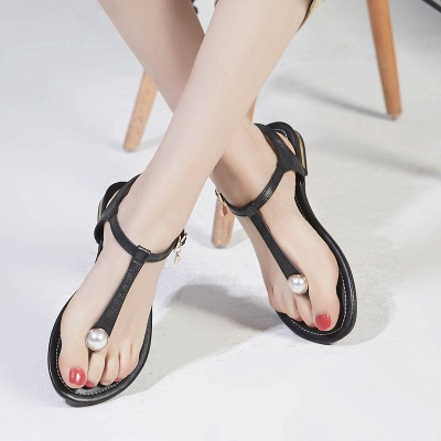 Flip-flops Imitation Pearl Daily Summer Buckle Sandals_5