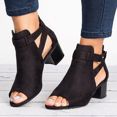 Daily Zipper Hollow-out Summer Open Toe Chunky Sandals_2