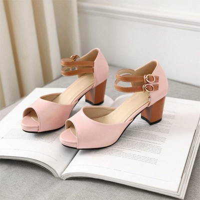 Date Buckle Peep Toe Sandals_10