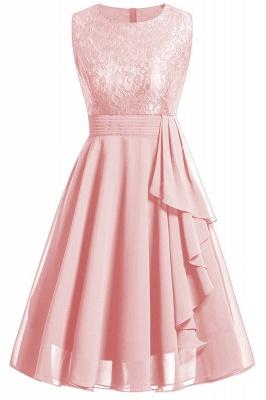 Women's Vintage Sleeveless Ruffles Belt Floral Lace Bridesmaid Chiffon Dress_4