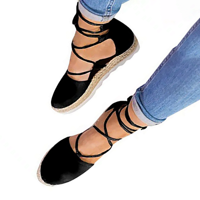 Espadrilles Lace-up Hollow Out Round Toe Suede Sandals_2
