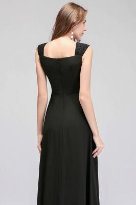Black Cheap Long Ruffles Sleeveless Straps Evening Dress_5