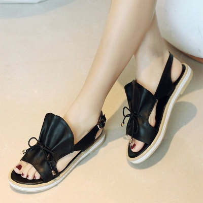 Peep Toe Bowknot Comfortable Summer Hollow-out Casual Sandals_6