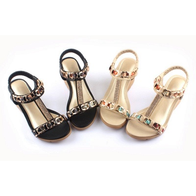 Rhinestone Date Chain Hollow-out Women Summer Wedge Sandals_4
