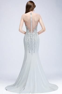 Elegant Cap-Sleeves Beading Sheer-Neck Mermaid Bridesmaid Dresses_5
