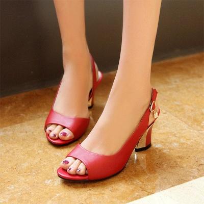Summer Buckle PU Dress Peep Toe Chunky Sandals_12