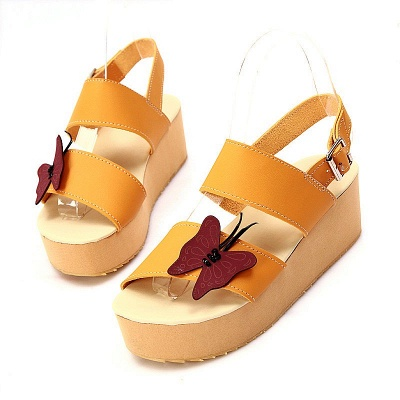 Butterfly Daily Buckle Peep Toe Platform Wedge Sandals_13
