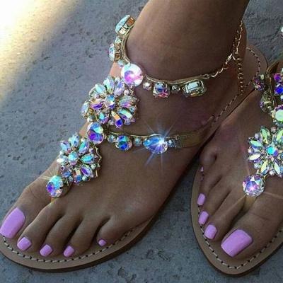 Beach Chain Daily Rhinestone Flip-flops Sandals_1