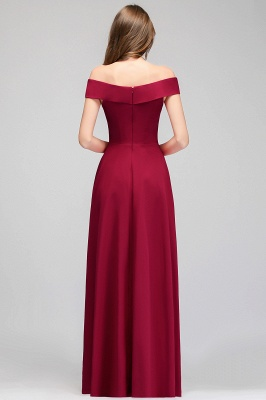 A-line Off-the-Shoulder Long Burgundy Evening Gowns_5