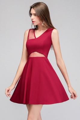 Cheap A-line Sleeveless Short V-neck Tulle Neckline Homecoming Dress in Stock_7