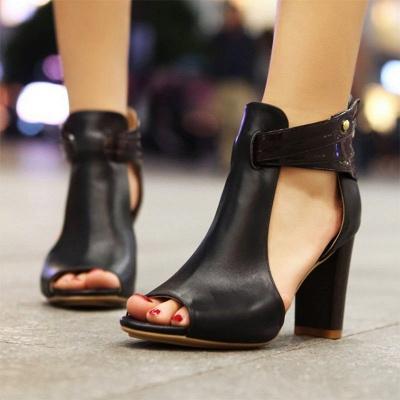 Hollow-out Peep Toe Zipper Summer Chunky Sandals_5